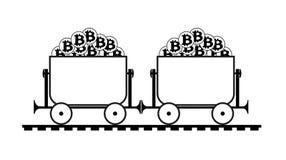 有bitcoin的采矿台车 皇族释放例证
