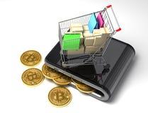 有Bitcoins和购物车的数字式钱包 图库摄影