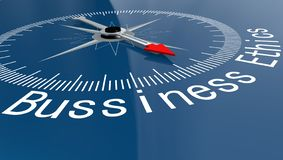 有Bussiness概念词的蓝色指南针 向量例证