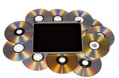 有CD的片剂个人计算机 免版税库存照片