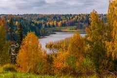 有cloudscape的森林湖,Puzhanier湖,俄罗斯 免版税库存照片