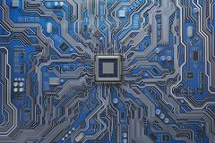 有cpu的计算机主板 电路板与co的系统芯片 皇族释放例证