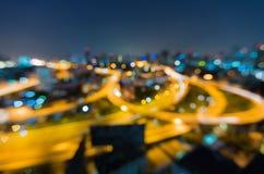 有defocused bokeh的曼谷高速公路点燃作为抽象背景,泰国 免版税库存照片