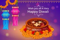 有diya的垂悬的kandil灯笼为印度的愉快的屠妖节假日 库存图片