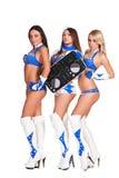 有dj管理员的三位美丽的女招待 库存图片