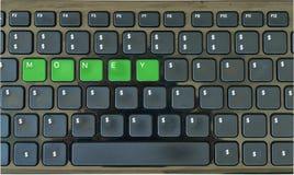 有dolar标志和`金钱`的键盘只在上写字 免版税图库摄影