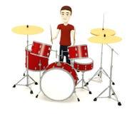 有drumset的动画片人 免版税库存照片