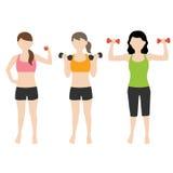 有dumbell的健身妇女 库存照片