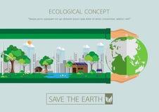 有eco生活保护的绿色城市 免版税库存照片