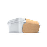 有eco盖子的白色银行食物油的,蛋黄酱,人造黄油,乳酪,冰淇凌,橄榄,腌汁,酸性稀奶油 食物和饮料pla 免版税库存图片