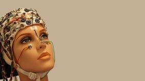 有EEG帽子的一个美丽的妇女人体模型在光滑的背景 免版税库存照片
