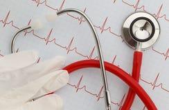 听诊器EKG 库存图片