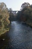 有Elstertalbrucke桥梁的Weisse Elster河在普劳恩市附近在萨克森 免版税库存照片
