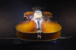 有fiddlestick的老多灰尘的小提琴 免版税库存图片