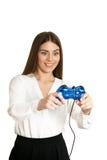 有gamepad的美丽的妇女 免版税库存照片
