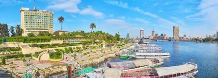 有Gezira海岛口岸的,开罗,埃及全景 免版税库存图片