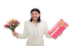 有giftbox的人 免版税库存图片