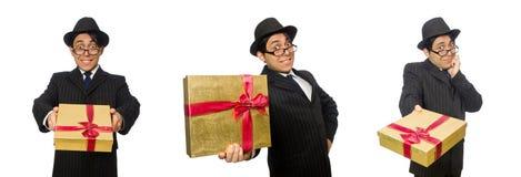 有giftbox的滑稽的人在白色 库存照片