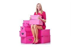 有giftboxes的妇女 免版税库存图片
