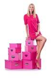 有giftboxes的妇女 免版税库存照片