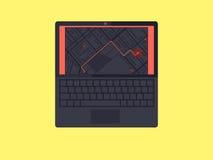 有GPS航海地图的膝上型计算机在屏幕上 免版税库存照片