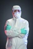 有Hazmat衣服的科学家 免版税库存图片