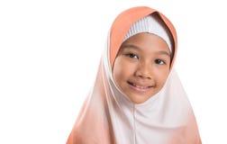 有Hijab的年轻回教女孩我 库存照片