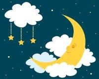 有i月亮被绘的照片休眠水彩 免版税库存照片