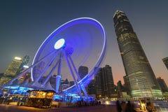 有IFC大厦的香港弗累斯大转轮 图库摄影