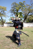 有katana剑的日本武士 免版税库存图片