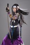 有katana剑的日本武士 免版税库存照片