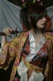 有katana的艺妓 免版税库存图片