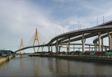 有Klong小伙子的Pho Bhumibol桥梁,一个人做了运河,曼谷,泰国 免版税库存图片