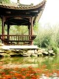 有koi鱼的塔在美丽的庭院里 库存照片