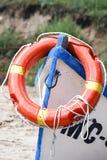 有lifebuoy的救助艇 免版税图库摄影