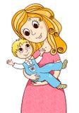 有litle男孩的动画片母亲 库存照片