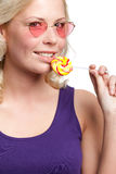 有lollypop的女性 免版税库存图片