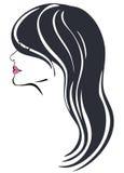有lond黑发传染媒介的妇女 库存照片