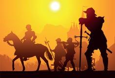 有longsword的中世纪骑士 库存照片