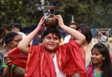 有Mangal的Ghat献身者 库存照片