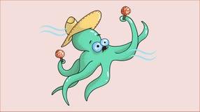 有maracas的快乐的章鱼音乐家在触手 免版税库存图片