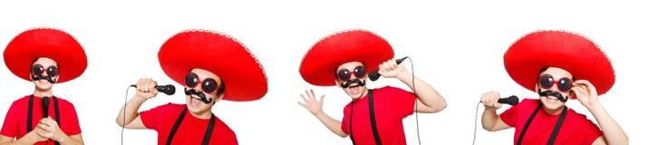 有mic的滑稽的墨西哥人在白色隔绝了 免版税库存图片