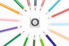 有mp3的色的铅笔 免版税库存图片