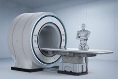 有mri扫描的机器人 向量例证