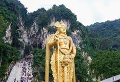 有Murugan雕象的黑风洞在马来西亚 免版税图库摄影