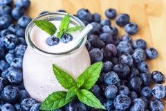 有nat水多的新鲜的莓果背景顶视图酸奶的鸡尾酒的美丽的开胃菜蓝莓果子圆滑的人奶昔玻璃瓶子 库存照片