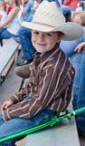有Ninja剑的年轻牛仔。 库存照片
