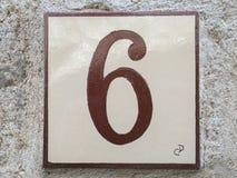 有numer的六6陶瓷砖 库存照片