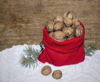 有nutlets的新年的大袋 免版税图库摄影