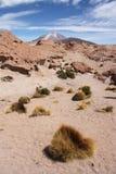有Ollague火山的,玻利维亚阿塔卡马沙漠 免版税库存图片